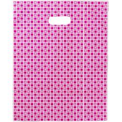 Bolsa plástico comercios asa lazo rosa